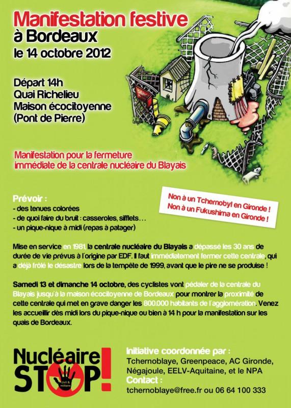 Manifestation festive à Bordeaux contre le nucléaire